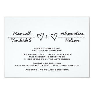 Ebony Heart Equation Wedding Invite