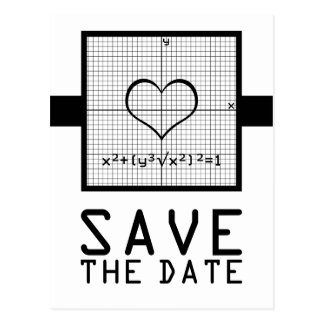 Ebony Heart Math Graph Save the Date Postcard