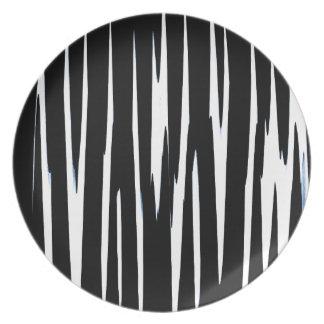 EBONY & IVORY (black & white zebra stripe design) Melamine Plate