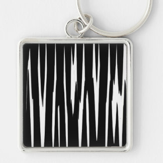 EBONY & IVORY in the first (zebra stripe art) ~ Silver-Colored Square Keychain