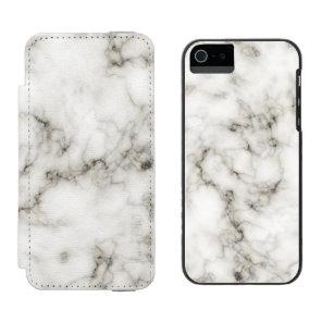 Ebony Ivory Marble Black White Marble Stone Wallet Case For iPhone SE/5/5s