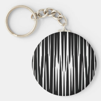 EBONY & IVORY (zebra stripe abstract art) ~ Basic Round Button Keychain