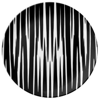 EBONY & IVORY (zebra stripe abstract art) ~ Porcelain Plate