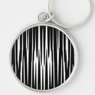 EBONY & IVORY (zebra stripe abstract art) ~ Silver-Colored Round Keychain
