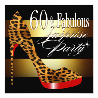 Ebony Leopard Stiletto Stripes 60 & Fabulous Card