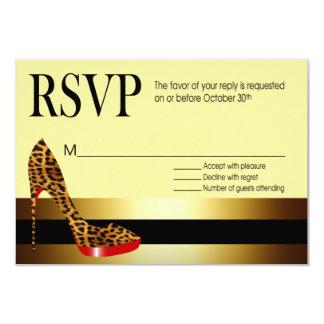 Ebony Leopard Stiletto Stripes RSVP Card