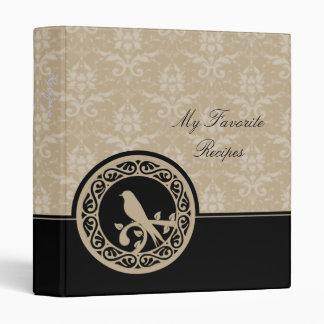 Ebony Lovebird Damask Recipe Book 3 Ring Binder