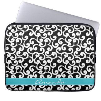 Ebony Monogrammed Elements Print iPad Laptop Computer Sleeve