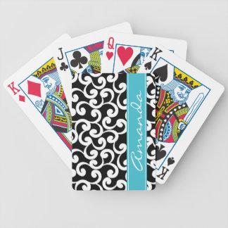 Ebony Monogrammed Elements Print Bicycle Card Decks