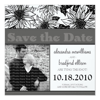 Ebony Sunflowers Save the Date Announcement