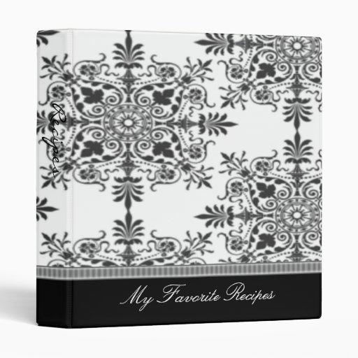 Ebony Victorian Damask Recipe Book Vinyl Binders