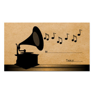 Ebony Vintage Gramophone Place Card Double-Sided Standard Business Cards (Pack Of 100)