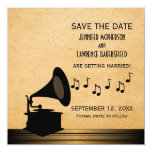 Ebony Vintage Gramophone Save the Date Invite