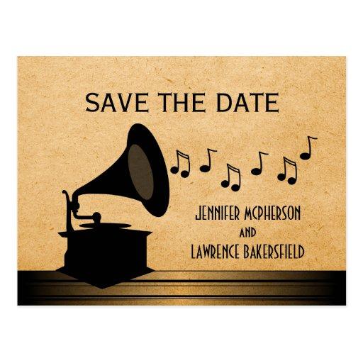 Ebony Vintage Gramophone Save the Date Postcard