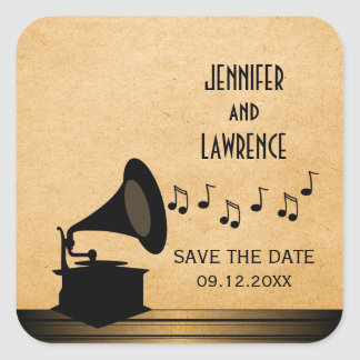 Ebony Vintage Gramophone Save the Date Stickers