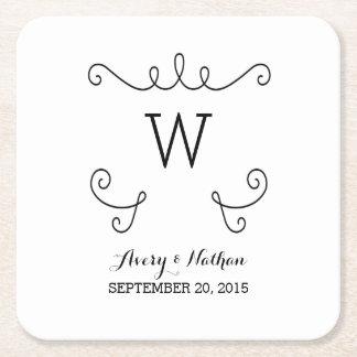 Ebony Whimsical Flourish Monogram Paper Coasters