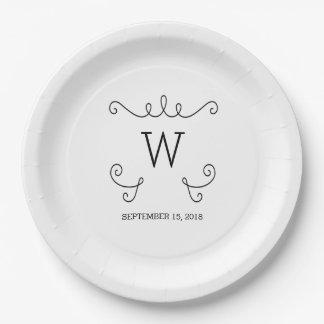 Ebony Whimsical Flourish Monogram Paper Plates 9 Inch Paper Plate