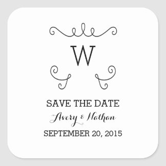 Ebony Whimsical Flourish Save the Date Stickers