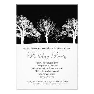 Ebony Winter Wood Corporate Holiday Party Custom Invitations