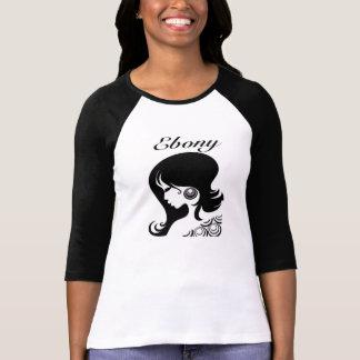 Ebony Woman Face Base Ball T-Shirt