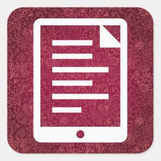 Ebook rellena el icono pegatina cuadrada