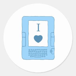ebooks del corazón i (azules) pegatina redonda