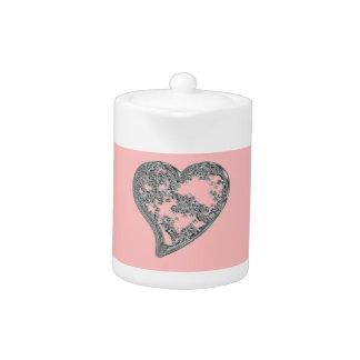 ebossedheartfitdesignerpinkblend teapot