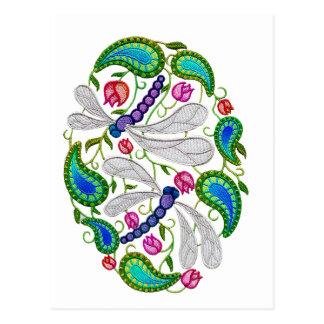 ebroidered dragonflies postcard