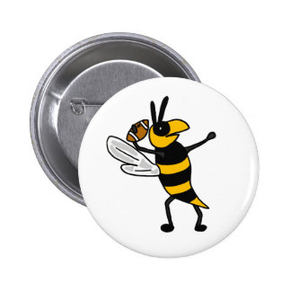 EC- Yellow Jacket Throwing Football Cartoon 2 Inch Round Button