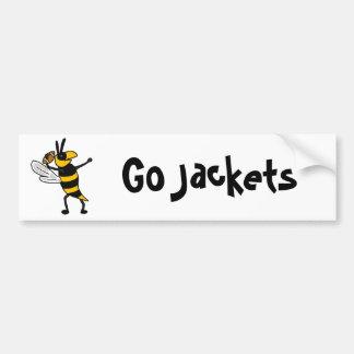 EC- Yellow Jacket Throwing Football Cartoon Bumper Sticker