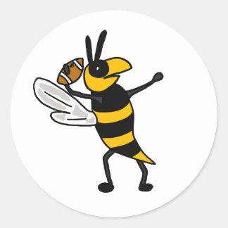 EC- Yellow Jacket Throwing Football Cartoon Classic Round Sticker