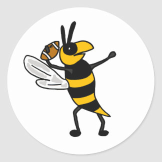 EC- Yellow Jacket Throwing Football Cartoon Sticker