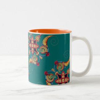 Ecclectic Vintage Moyen Age Bold Medieval Design Two-Tone Coffee Mug