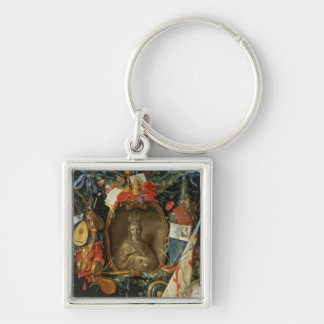Ecclesia Surrounded by Symbols of Vanity Silver-Colored Square Keychain
