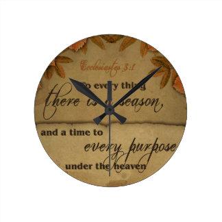 Ecclesiastes 3:1 Scripture Art Gifts Round Wallclock