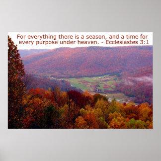 Ecclesiastes 3:1 with Autumn Mountain Scene Poster