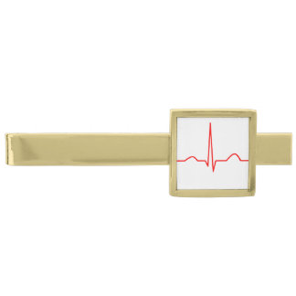 ECG or electrocardiogram of heart rhythm pattern Gold Finish Tie Clip