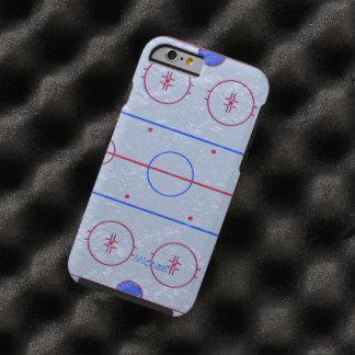 Echada de la pista de hielo del hockey funda para iPhone 6 tough