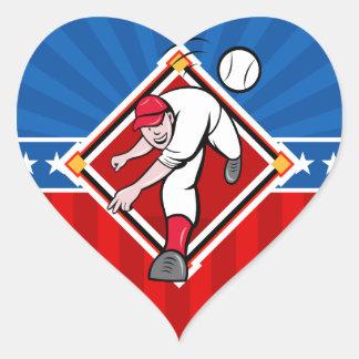 Echada del béisbol pegatina en forma de corazón