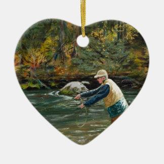 Eche lejos adorno navideño de cerámica en forma de corazón