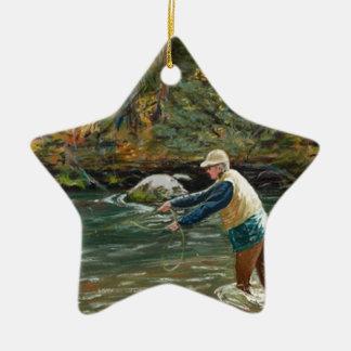 Eche lejos adorno navideño de cerámica en forma de estrella