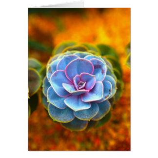 Echeveria coloreado azul tarjeta de felicitación