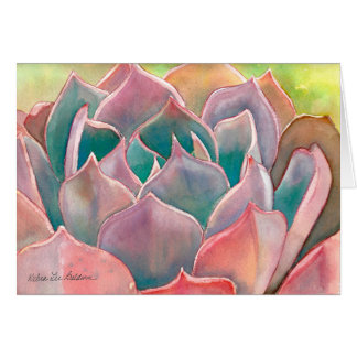Echeveria watercolor Card by Debra Lee Baldwin