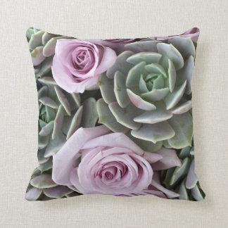 Echeverias and roses pillow by Debra Lee Baldwin