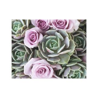 Echeverias y rosas de Debra Lee Baldwin Impresiones En Lienzo Estiradas