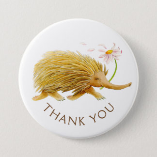 Echidna watercolor animal thank you button/badge button