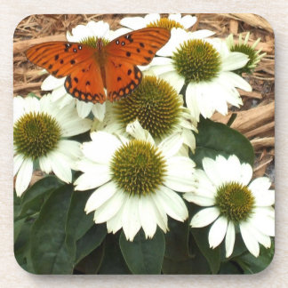 Echinacea White Swan Daisies and Passion Butterfly Drink Coasters