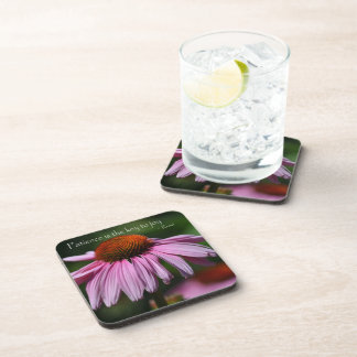 Echinacea with Patience Quote Beverage Coaster