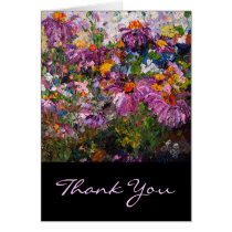 flowers, cards, thank you cards, customizable, yellow, black, orange, plants, healing plants, botanical, ginette, fine art, chamomile, echinecea, universal, friend, contemporary, modern, simple, unique, artsy, artful, artistic, with original art, herbs, medicinal plants, custom, purple, blue, lavender, pink, thank you, greetings, family, friends, Card with custom graphic design