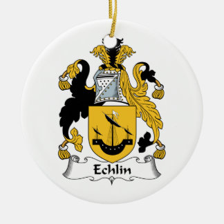 Echlin Family Crest Double-Sided Ceramic Round Christmas Ornament